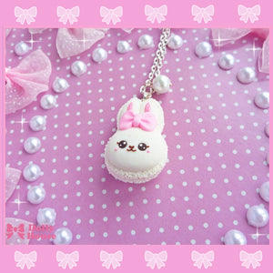 Kawaii Bunny French Macaron Necklace By Dolly House - plushiepink