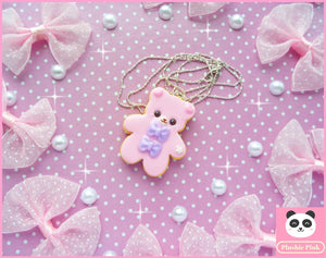 Cookie Bear Necklace - plushiepink