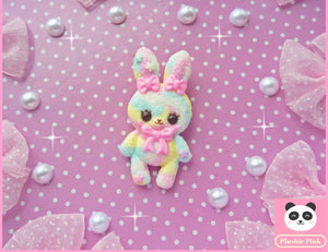 Marshmallow Bunny Brooch - plushiepink