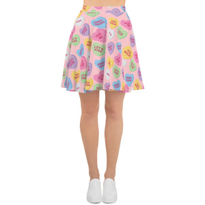 Conversation Love Hearts Skater Skirt - plushiepink