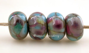 Summer Storm Dark grey base with blue, purple, teal, pink, and yellow. Bead Size: 6x11-12 or 7x13-14 mmHole Size: 2.5 mmprice is for one bead with a discount for 4 or more 11-12 mm,Glossy,13-14 mm,Glossy,11-12 mm,Matte,13-14 mm,Matte