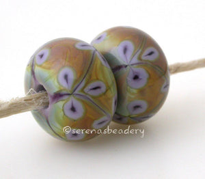 Violet Raku Flowers one pair of new violet and raku beads with matching violet flowers 6x12 mm 2.5 mm hole     Glossy,Matte