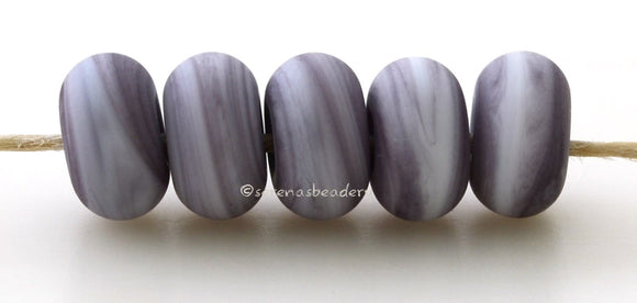 Lilac Dark Matte Spacers #1965 5 Lilac Dark spacers, blend of lilac and white - 5x10 mm with a 2.5 mm hole, matte finish. This handmade bead set is ready to ship! Default Title