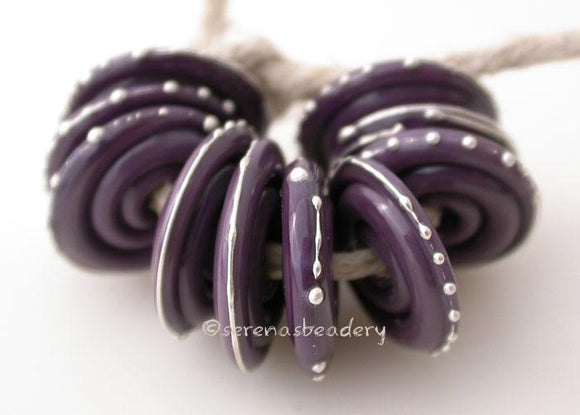 Thai Orchid Fine Silver Disks Opaque purple thai orchid wrapped in fine silver. 3x14mm Price is per bead. Glossy,Matte