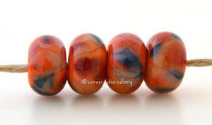 Fall Festivities Orange lampwork glass beads with steel blue, peach pink and teal.Bead Size: 6x11-12 or 7x13-14 mmHole Size: 2.5 mmprice is for one bead with a discount for 4 or more 11-12 mm,Glossy,13-14 mm,Glossy,11-12 mm,Matte,13-14 mm,Matte