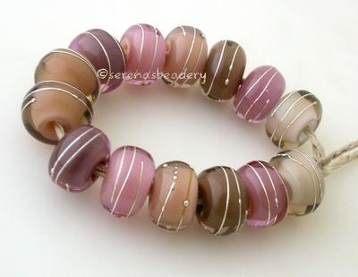 Age Old Set One pair each of 7 shades of pink and grey layers with a silver wrap. 14 beads total   6x12 mm with a 2.5 mm hole. Glossy,Matte