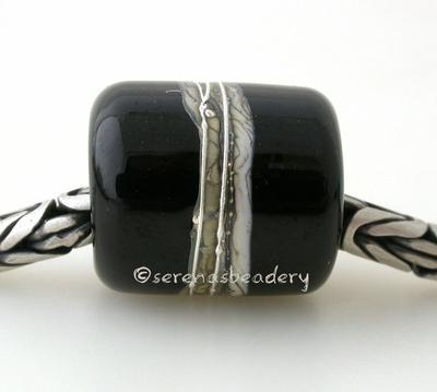 All Black Silvered Ivory Tube Big Hole Bead all black with fine silver and silvered ivory European charm style bead13x11 mmprice is per bead Glossy,Matte
