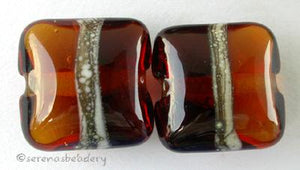 Amber Silvered a pair of light and dark amber pillows with a silvered ivory stripe 13 mm price is per pair Glossy,Matte