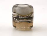 Sepia Gray Silvered Ivory Tube Big Hole Bead