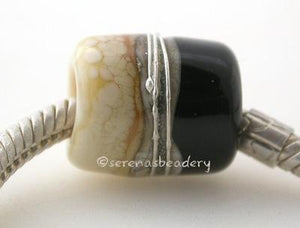 Black and Ivory European Charm with Fine Silver