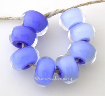 Blue Ombre one pair each of periwinkle, dark periwinkle, french blue, and light cobalt cased in clearAvailable in a matte finish too6x12 mmprice is per set of 8 beads Glossy,Matte