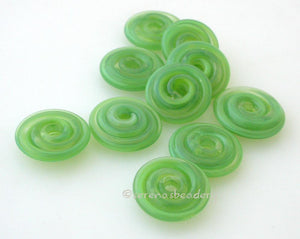 Lemon Lime Wavy Disk Spacer wavy disks in lemon lime2 sizes available: 11-12 mm with 1.5 mm hole or 13-14 mm with 2.5 mm holeprice is per 1 disk 11-12 mm 1.5 mm hole,12-13 mm 2.5 mm hole