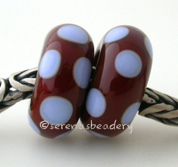 Brown and Blue Dice Dot European Charm Bead