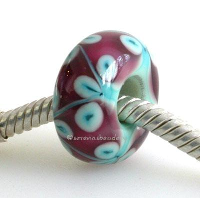 Copper Green and Pink Flower European Charm Bead