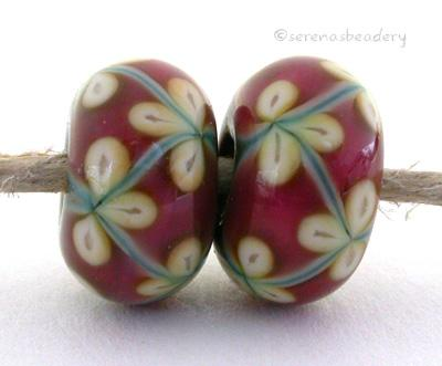 Copper Pink and Opal Yellow Flowers one pair of copper green and pink beads with opal yellow flowers 6x12 mm 2.5 mm hole Glossy,Matte