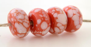 Coral Mist Coral lampwork glass beads with pale coral frit.Bead Size: 6x11-12 or 7x13-14 mmHole Size: 2.5 mmprice is for one bead with a discount for 4 or more 11-12 mm,Glossy,13-14 mm,Glossy,11-12 mm,Matte,13-14 mm,Matte