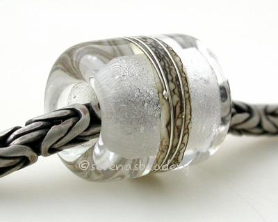 Crystal Clear Silvered Ivory Tube Big Hole Bead crystal clear with fine silver and silvered ivory European charm style bead13x11 mmprice is per bead Glossy,Matte