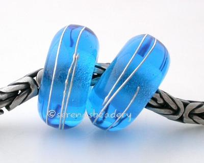 Dark Aqua Fine Silver Wrap European Charm Bead one aqua handmade lampwork glass European charm spacer bead with a fine silver wrap6x14 mm with a 5mm holeprice is per bead Glossy,Matte
