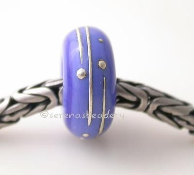 Dark Periwinkle Fine Silver Wrap European Charm Bead one dark periwinkle handmade lampwork glass European charm spacer bead with a fine silver wrap6x14 mm with a 5mm holeprice is per bead Glossy,Matte