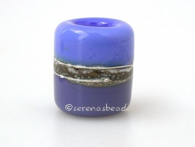 Dark Periwinkle Lilac Silvered Ivory Tube Big Hole Bead dark periwinkle and lilac purple with fine silver and silvered ivory European charm style bead13x11 mmprice is per bead Glossy,Matte
