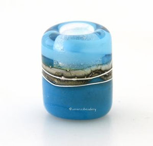 Dark Sky Blue Ribbon Silvered Ivory Tube Big Hole Bead
