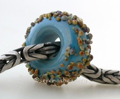 Dark Turquoise Raku Sugar European Charm Bead dark turquoise blue with raku sugar European charm lampwork glass bead6x15mmprice is per bead Glossy,Matte