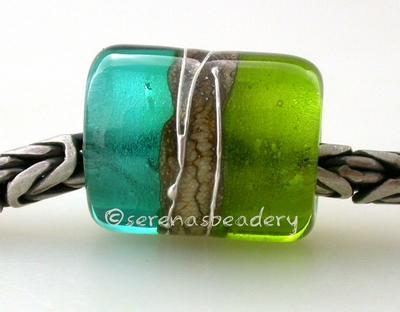 Grass Green Teal Silvered Ivory Tube Big Hole Bead