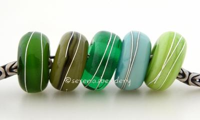 Green Sampler Fine Silver Wrap European Charm Bead one sampler set of green handmade lampwork glass european charm spacer bead with a fine silver wraps - The colors are mystic green, olive green, emerald, copper green and pea green.5x13mm with a 5mm holeprice is per 5 bead set Default Title