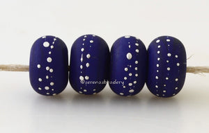 DARK COBALT BLUE with Fine Silver Dots - Serena's Beadery