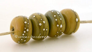 4 Stone Ground Yellow Fine Silver Dots - Serena's Beadery
