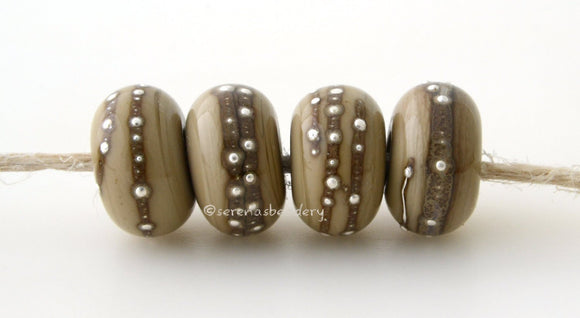 4 Sage brown \Fine Silver Dots - Serena's Beadery