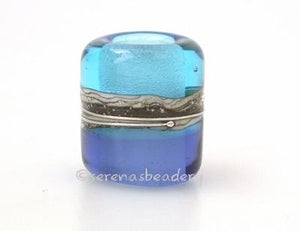 Light Aqua Sapphire Silvered Ivory Tube Big Hole Bead light aqua and sapphire blue with fine silver and silvered ivory european charm style bead13x11 mmprice is per bead Glossy,Matte