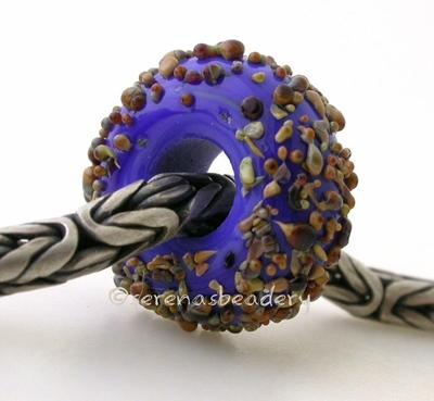 Light Cobalt Raku Sugar European Charm Bead