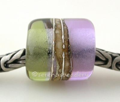 Mojito and Dark Lavender Silver European Charm Bead