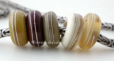 Neutral Sampler Fine Silver Wrap European Charm Bead one sampler set of neutral handmade lampwork glass european charm spacer bead with a fine silver wraps - The colors are stone ground, chestnut brown, sage, dark ivory, and mystic beige. 5x13mm with a 5mm holeprice is per 5 bead set Default Title