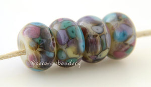 Chalk World Neutral lampwork glass beads with blue, pink, and green frit. Bead Size: 6x12 mm Hole Size: 2.5 mm price is for one bead with a discount for 4 or more 11-12 mm,Glossy,13-14 mm,Glossy,11-12 mm,Matte,13-14 mm,Matte