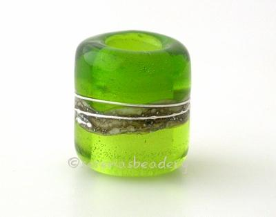 Olive and Dark Grass Green Silver European Charm Bead