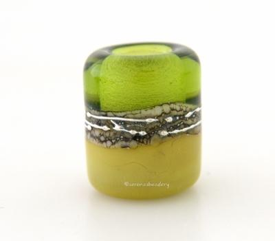Olive Pistachio Silvered Ivory Tube Big Hole Bead transparent olive green and pistachio with fine silver and silvered ivory european charm style bead13x11 mmprice is per bead Glossy,Matte