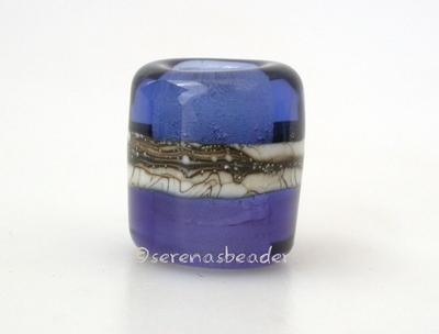 Pale Ink Blue Sapphire Silvered Ivory Tube Big Hole Bead