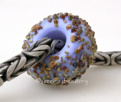Periwinkle Blue Raku Sugar European Charm Bead periwinkle blue with raku sugar european charm lampwork glass bead6x15mmprice is per bead Glossy,Matte
