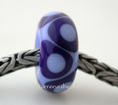 Periwinkle Cobalt Dots European Charm Bead one periwinkle and cobalt blue european charm bead with offset dots6x15mmprice is per bead Glossy,Matte