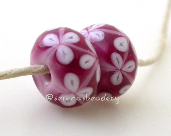 Double Pink and White Flowers one pair of double pink beads with white flowers 6x12 mm 2.5 mm hole Glossy,Matte
