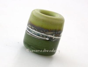 Pistachio and Olive Silver European Charm Bead pistachio and olive green with fine silver and silvered ivory european charm style bead13x11 mmprice is per bead Glossy,Matte
