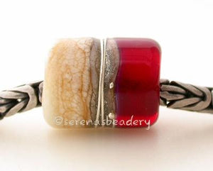 Red Beach European Charm One european charm style bracelet bead with ivory, silvered ivory, fine silver and transparent red.Bead Size:13x11 mmAmount:1 BeadHole Size:5 mm Glossy,Matte