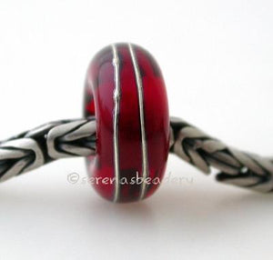 Red Fine Silver Wrap European Charm Bead