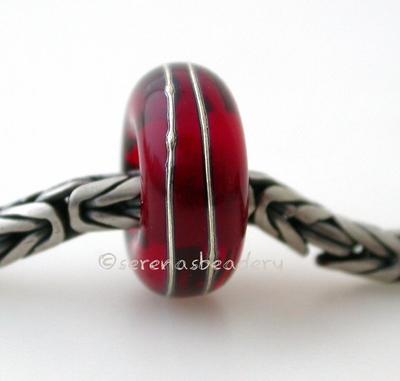 Red Fine Silver Wrap European Charm Bead one transparent red handmade lampwork glass european charm spacer bead with a fine silver wrap5x13mm with a 5mm holeprice is per bead Glossy,Matte