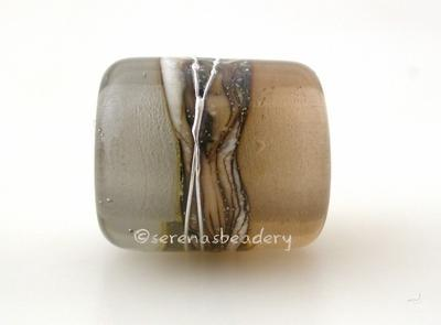 Sepia Grey Silvered Ivory Tube Big Hole Bead