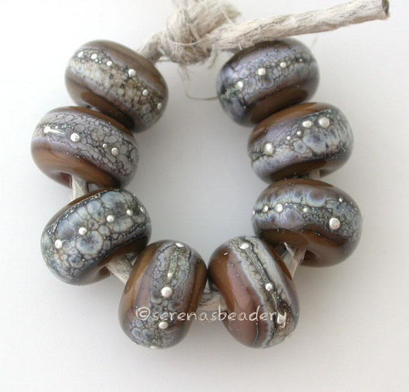 Silvered Tamarind tamarind brown color beads with silvered ivory and fine silver 7x11 mm price is for an 8 bead set Glossy,Matte