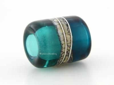 Teal Great Bluedini Silvered Ivory Tube Big Hole Bead