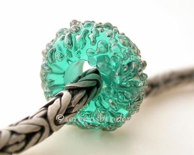 Teal Lustre Sugar European Charm Bead one transparent teal european charm bead with silver luster sugar5x13mm with a 5mm holeprice is per bead Default Title